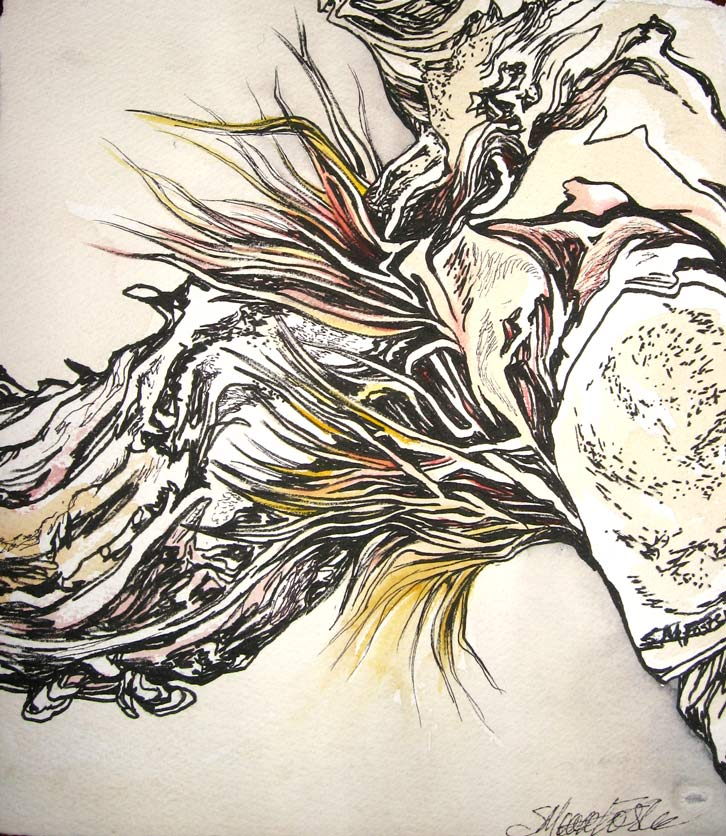 Sharon Moore Foster, Antler I, Stilled Life Series, Ink & Watercolour, 15 x 15